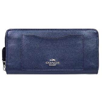 Harga COACH F54007 ACCORDION ZIP WALLET IN CROSSGRAIN LEATHER (METALLIC MIDNIGHT)