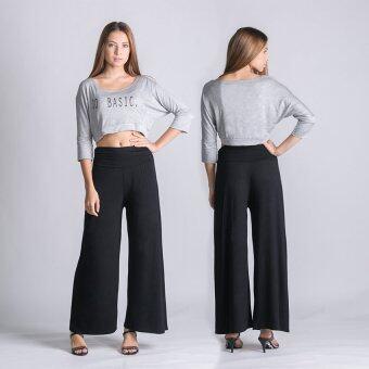 กางเกงเอวสูงขาบาน ทรงโบฮีเมี่ยน สีดำ 2ตัว