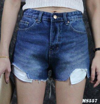 Platinum Fashion กางเกงยีนส์ขาสั้นเอวสูง แต่งขาดปลายเล็กน้อย รุ่นMS557
