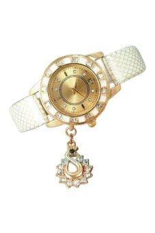 นาฬิกาควอทซ์คริสตัลจี้หญิงพลอยสีเบจ
