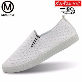 Marino รองเท้าหนังPU รองเท้าคอมฟอร์ท รองเท้าลำลอง รองเท้าแฟชั่น No.A016 - White