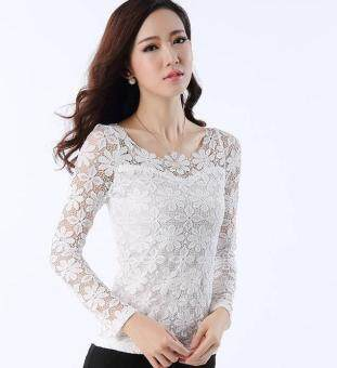 Harga New Women Fashion Lace Crochet Blouse Long-sleeved Lace Tops Plus Size M-5XL White (Intl)