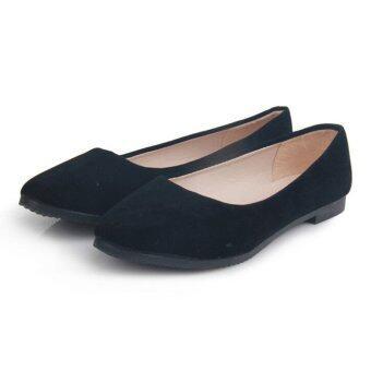 D66 ใหม่หญิงสาวสวมรองเท้าแตะสีลูกกวาดแฟลตบัลเล่ต์รองเท้าลำลองสี Microsuede