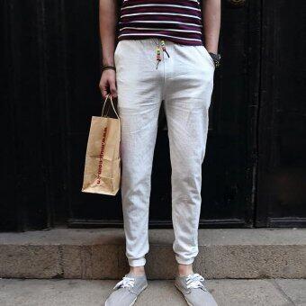 กางเกงแฟชั่นบุรุษจ็อกกิงกลางแจ้งผ้ากางเกงลำลองมากขนาดกางเกงกางเกงเกาหลีลำแสงขาว