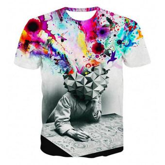 ในการพิมพ์ลักษณะนามธรรม 3D เสื้อยืดสำหรับบุรุษเสื้อยืด
