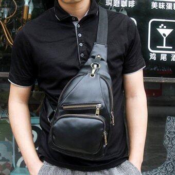 Osaka กระเป๋าสะพายไหล่ คาดอกผู้ชาย หนังPU รุ่น KA02 (สีดำ)