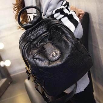 HPB กระเป๋าแฟชั่น ผู้หญิง กระเป๋าสะพายสีดำ กระเป๋าเป้สะพายหลัง หนัง PU