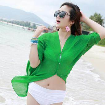 Harga Summer Women Fashion Candy Color Pure Color Variety Chiffon Beachwear Pearl Button Yarn Clothing Sun Clothes (Green) - intl