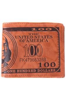 คนเก็บกระเป๋าสตางค์ดอลลาร์สหรัฐหญ้าคาสีน้ำตาลหนัง pu ถือบัตรเครดิตโฟโต้พับครึ่ง-อ่อน