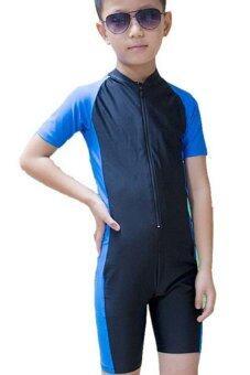 พวกเด็ก ๆ ผู้ชายแขนสั้นชุดว่ายน้ำฤดูร้อนดำน้ำว่ายน้ำดำน้ำสูทชุดว่ายน้ำ€ สีน้ำเงิน