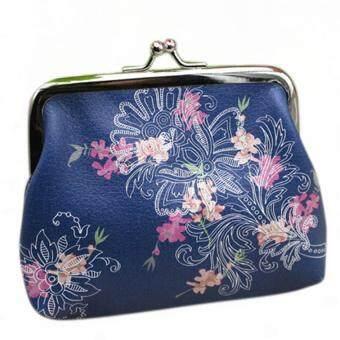 สตรีกระเป๋าสตางค์ที่เก็บบัตรมินิแฟชั่นกระเป๋าถือกระเป๋าถือกระเป๋าเงินกระเป๋าคลัตช์สีน้ำเงินดอกไม้