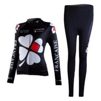 ชุดขี่จักรยานแขนยาวขายาว ผู้หญิง Francaise (ดำ/ขาว)