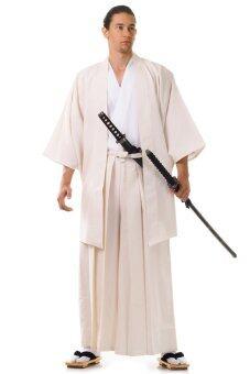 Princess of asia ชุดฮากามะพร้อมเสื้อคลุมฮาโอริ - สีครีม/ขาว