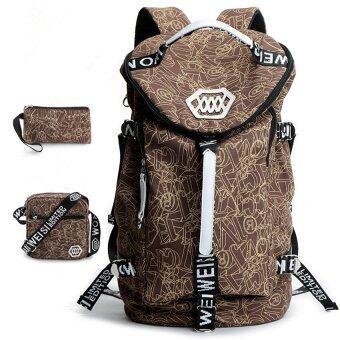 แฟชั่นกระเป๋าเป้ขนาดใหญ่ความจุสันทนาการใหม่นักเรียนชายเกาหลีกระเป๋าเป้ผ้าใบย้อนกลับ (ขนาดใหญ่/กาแฟ)
