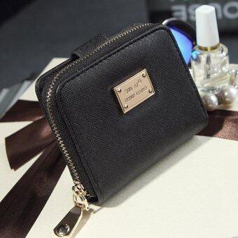 KoreaSoai กระเป๋าสตางค์ผู้หญิง ใบสั้นมีช่องใส่เหรียญ หนัง รุ่นB099-H-2b(สีดำ)