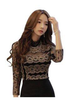 ช่องแขนเสื้อยาวผู้หญิงปกเสื้อสีดำ