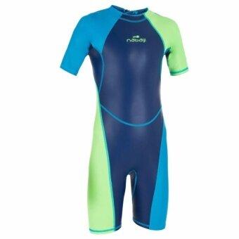 Audrey ชุดว่ายน้ำขาสั้นสำหรับเด็กผู้ชายรุ่น KLOUPI (สีฟ้า/เขียว)