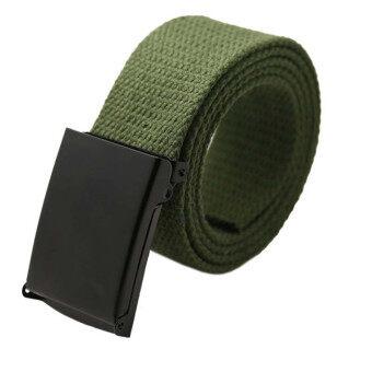 เพศชายคลองสบาย ๆ กางเกงเอวเข็มขัดผ้าใบกองทัพสีเขียว-ระหว่างประเทศ