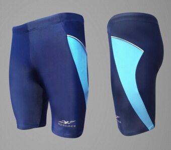 Spandex กางเกงว่ายน้ำขาสามส่วน SW002 (สีกรมท่า/แถบฟ้า)