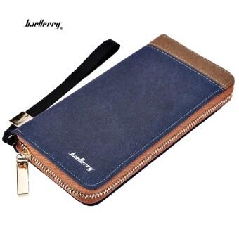 Baellerry ผ้าใบผ้าคลัตช์แบบพกพากระเป๋าสตางค์สำหรับคนแนวตั้ง (สีน้ำเงิน)