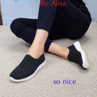 Alisa Shoes รองเท้าผ้าใบผู้หญิงแฟชั่น รุ่น 99Q032 Black