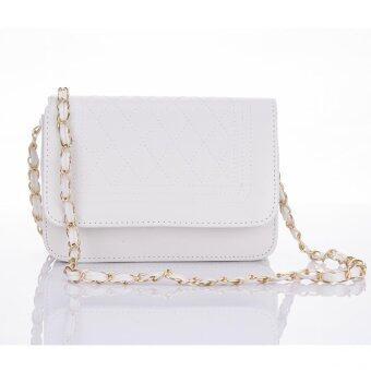Premium Bag กระเป๋าแฟชั่น กระเป๋าสะพายข้าง รุ่น PB-002 (สีขาว)
