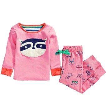 Kids Sets Girl set Cotton Cartoon Stripe 2PCS 3-8Y Casual Sleepwear(pink) – Intl – intl สำหรับ Clothing
