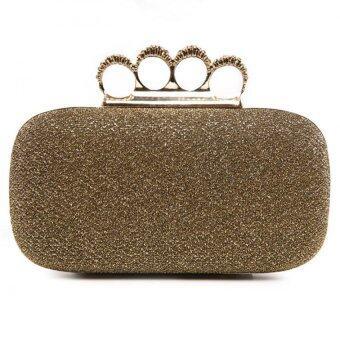 แหวนคริสตัลกระเป๋าถือกระเป๋าคลัตช์ประกายเงินตอนงานแต่งงานโกลเด้น