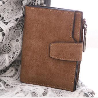 ลาวีขัดหนังสตรีกระเป๋าสตางค์เหรียญเงินที่เก็บบัตรการออกแบบ (สีน้ำตาล)