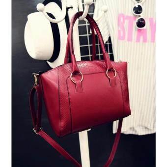 Moniga-Moniga กระเป๋าถือพร้อมสายสะพาย รุ่น Queen (สีแดง) พร้อมเข็มขัดโบว์สีดำ 1 ชิ้นBe5