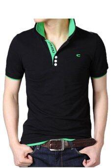 Huaway แฟชั่นผู้ชายแขนสั้นเสื้อโปโลปักซี (สีเขียว)