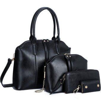 RichCoco กระเป๋าแฟชั่นเกาหลี + กระเป๋าสตางค์ผู้หญิง + กระเป๋าสะพายข้าง +กระเป๋าใส่พวงกุณแจ เซ็ต 4 ใบ(สีดำ)