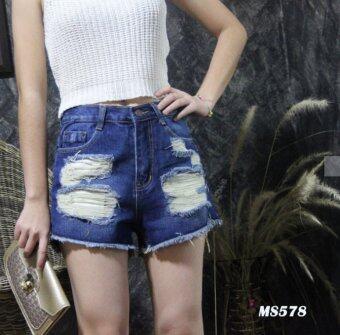 Platinum Fashion กางเกงยีนส์ขาสั้นเอวสูง แต่งขาด รุ่นMS578
