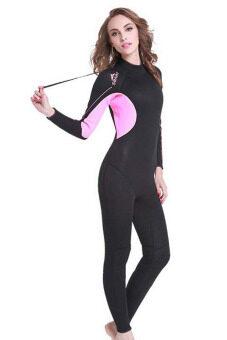 3มมเทียมอุ่นหนาวสาวชุดว่ายน้ำตื้นดำน้ำสนอร์เกิล Spearfishing สูทชุดว่ายน้ำเปียก-สีดำ