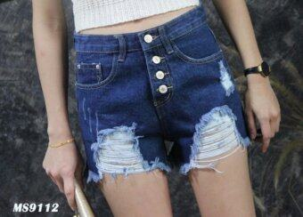 Platinum Fashion กางเกงยีนส์ขาสั้นเอวสูงปกติ แต่งขาด รุ่นMS9112