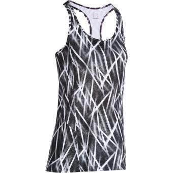 Domyos เสื้อกล้ามออกกำลังกายผู้หญิง เสื้อกล้ามฟิตเนสทรงยาว (สีดำ)