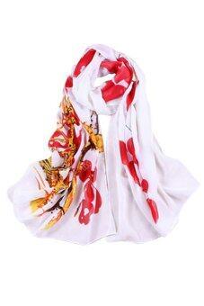 Sanwood หมึกวาดผู้หญิงนุ่มผ้าพันคอผ้าคลุมไหล่สีแดง