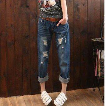 Dolly กางเกงยีนส์ขายาว แต่งรอยขาด แนวเซอร์ (สีน้ำเงิน ยีนส์เข้ม) รุ่น908