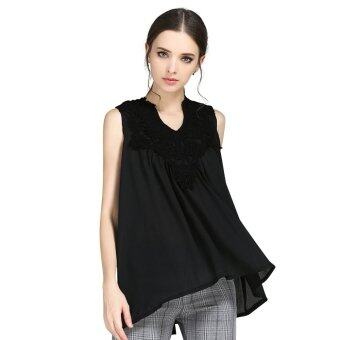 เสื้อผู้หญิงและ 2559 เสื้อใหม่แฟชั่นผ้าลูกไม้ถักเย็บหลวม ๆ สันทนาการชีฟองสีดำลายลูกไม้ไซส์พิเศษ M-5XL