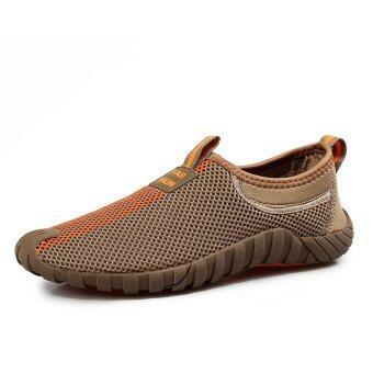 แฟชั่นผู้ชายรองเท้ากีฬาหายใจเบาแบน (สีน้ำตาล)