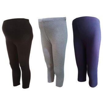 Benita Cropped Maternity-Leggings กางเกงเลกกิ้งขาห้าส่วนคนท้อง(แพค 3 ตัว) สีดำ/สีเทาอ่อน/สีกรมท่า