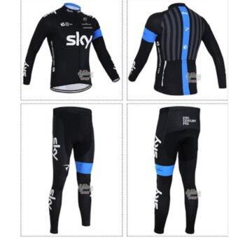 Cbike ชุดปั่นจักรยาน SKY แขนยาวขายาว ชุดโปรทีมจักรยาน ชุดขี่จักรยาน เนื้อผ้า polyester เป้าเจล