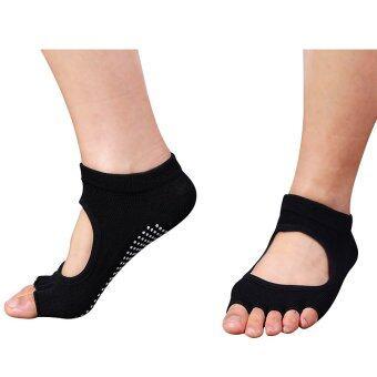 5คนชายห้องออกกำลังกายโยคะนิ้วลื่นยางพื้นรองเท้ากีฬาถุงเท้ารำเท้าข้างถุงเท้าสีดำ (ในประเทศ)