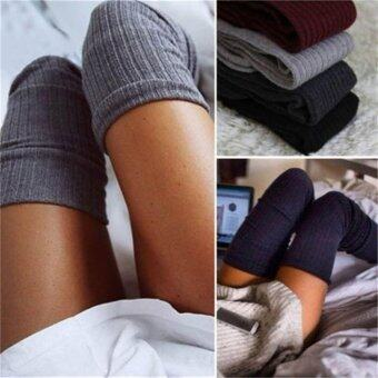 Harga Womens Winter Cable Knit Over Knee Long Boots Thigh High Warm Socks Leggings Black - intl