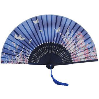 Jetting Buy พัดญี่ปุ่นสีน้ำเงินลายดอกไม้ไผ่จับผีเสื้อ