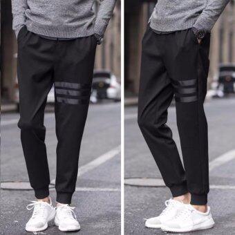 Save กางเกงวอร์มขายาว แต่งแถบข้างสีขาว กางเกงสีดำ รุ่น368