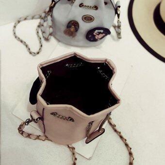 Bag Fashion กระเป๋าสะพายข้างแฟชั่น ทรงขนมจีบสายโซ่ถัก(สีชมพู) รุ่นjpg (image 3)