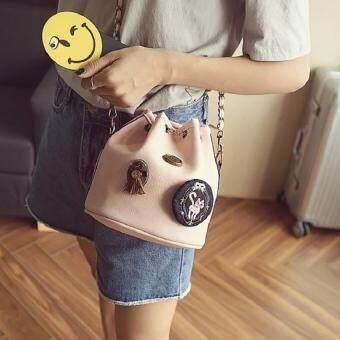 Bag Fashion กระเป๋าสะพายข้างแฟชั่น ทรงขนมจีบสายโซ่ถัก(สีชมพู) รุ่นjpg (image 2)