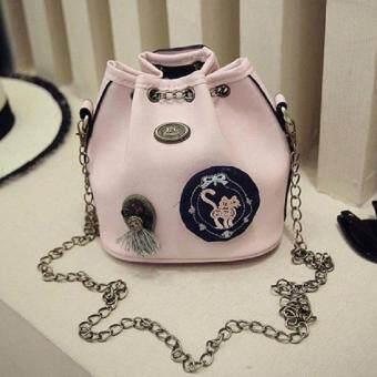 Bag Fashion กระเป๋าสะพายข้างแฟชั่น ทรงขนมจีบสายโซ่ถัก(สีชมพู) รุ่นjpg (image 0)