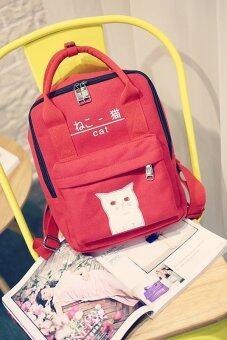 ฺBanana Shop กระเป๋าเป้สะพายหลัง กระเป๋าเป้เกาหลี กระเป๋าสะพายหลังผู้หญิง backpack women รุ่น LP-071 (สีแดง)